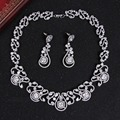 Silver color CZ diamond drop Earring Necklace for women Wedding Bridal for Brides Jewelry Sets