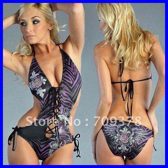 Free shipping Tattoo Print Adds Sparkle One-Piece Swimwear Sexy swimsuit Wholesale 15pcs/lot Sexy swimwear 40441