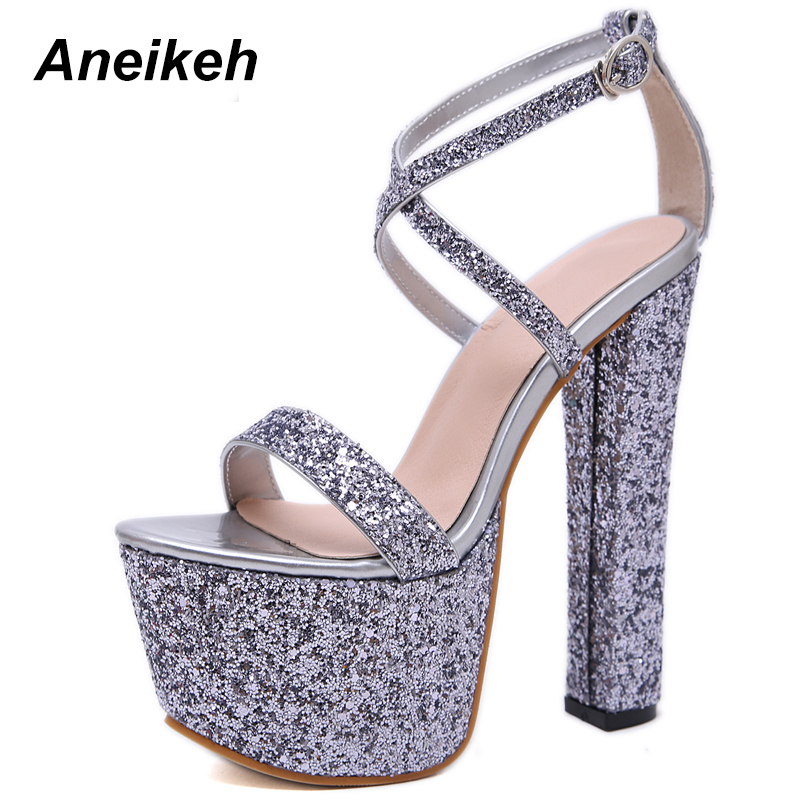 Aneikeh 2019 NEW Bling Platform High Heels Sandals Summer Sexy Ankle Strap Open Toe Gladiator Party Dress Women Shoes Size 35 40