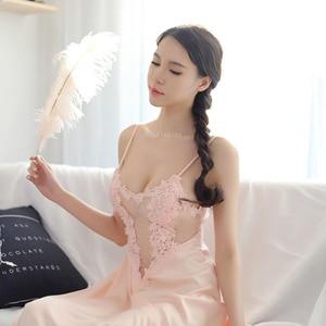 Image 5 - 새로운 여성 속옷 레이스 드레스 궁전 절묘한 아름다움 섹시한 nightdress 긴 레이스 잠옷 여성 슬링 드레스 + 가운 2 조각 세트