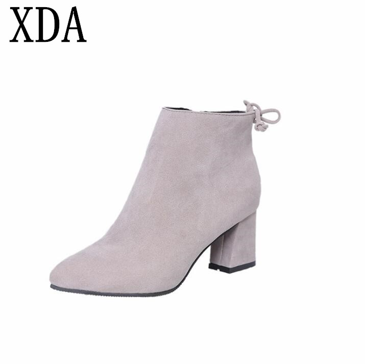 194da9e9e415a Detail Feedback Questions about XDA fashion Autumn Winter Fashion Shoes  Woman Flock Suede Leather Boots Ladies Thick High Heel zipper Ankle Boots  F36 on ...