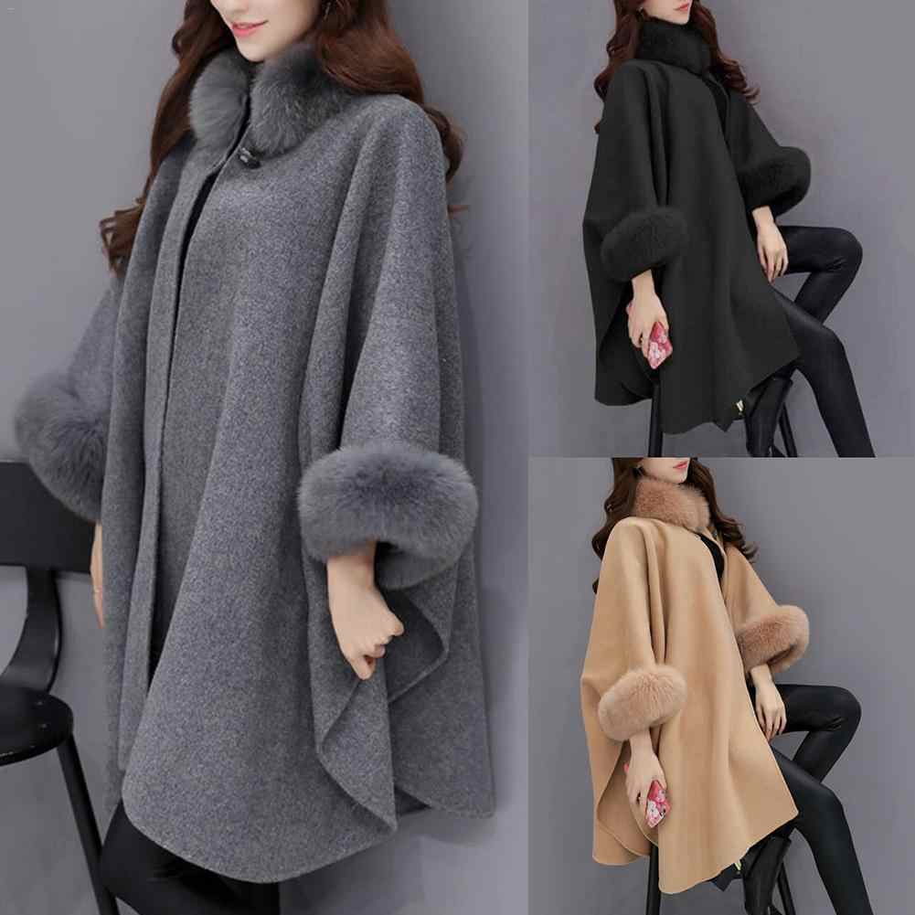 d192ebbec85ef ... XXL Plus Size Long Winter Coat Women Cotton Overcoat Camel Poncho  Knitwear Shawl Cape Feminino Warm