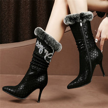 Lady Office Shoes Women Genuine Leather Slim High Heels Ankle Boots Rabbit Fur Pointed Toe Winter Warm Wedding Party Pumps Shoes цены онлайн