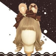 New Japanese Kawaii Vintage Rabbit Ears KC Headwear Bow Bear Trim Headband Cosplay Hair Band Lolita Handmade Hair Accessories
