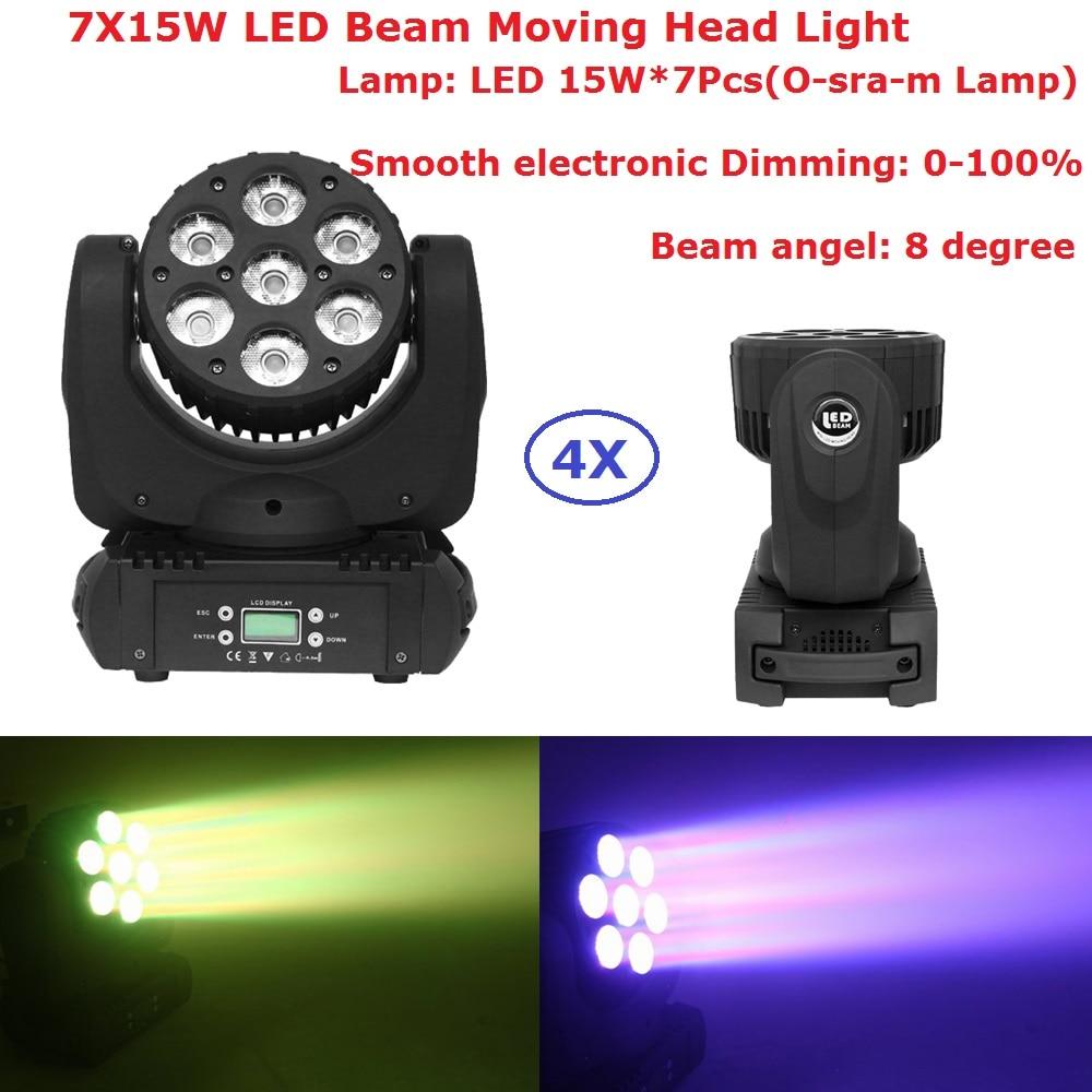 4 Pack Newest Led Moving Head Beam Lights 7X15W RGBW Professional Stage Lights 8 degree Beam DJ DMX Disco Beam Effects