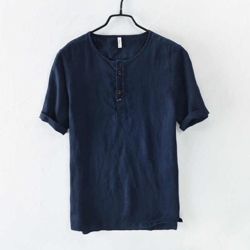 2018新しい到着夏半袖シャツ男性100%リネン白無地スリムフィットプルオーバー亜麻ノーカラートップスTS-398