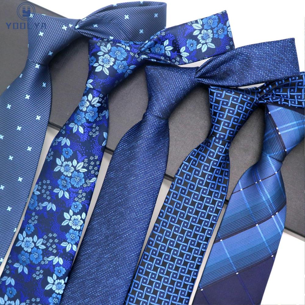 YOOLYA 8CM Blue Silk Neckwear Floral Dot Jacquard Woven Classic Neck Ties For Men