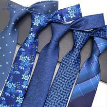 Fashion Mens Tie 8CM Blue Silk Neckwear Floral Dot Jacquard