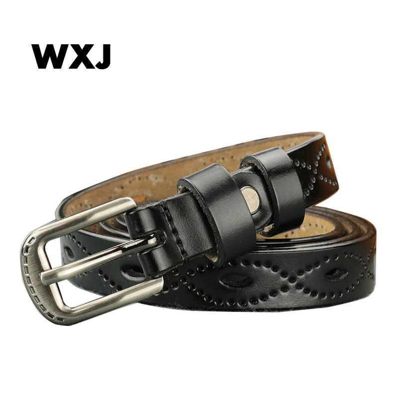 ホットファッション本革の女性のベルト古典的なスリム女性アンティーク黒帯金属ピンバックルジーンズ女性ストラップウエストバンド W043