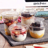 Disposable Plastic Cup Salad Bowl with Lid Ice Cream Bowl Birthday Party One Time Use Container for Dessert Yogurt Drinking Mug