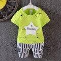 2016 nuevos muchachos del verano traje de estrella patrón de la camiseta + pantalones rayados 2 unids ropa los muchachos trajes casual bebé fija para pijamas recién nacidos