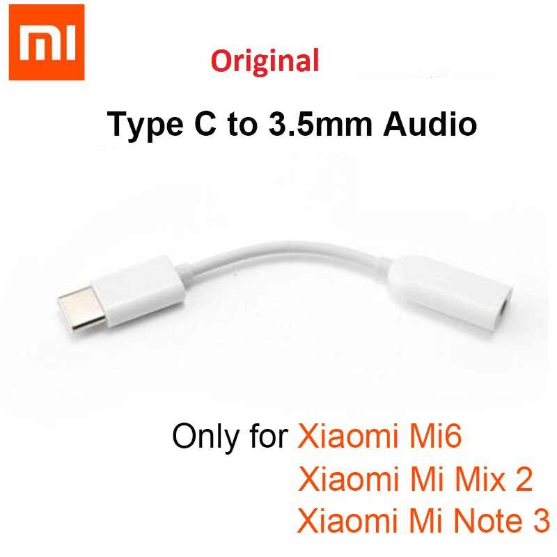 Original Xiaomi Type-C Male to 3.5mm Female Audio Adapter mi 8 se Jack Type C to 3.5 Headphone aux mi6 A2 Note 3 MIX 2S p20