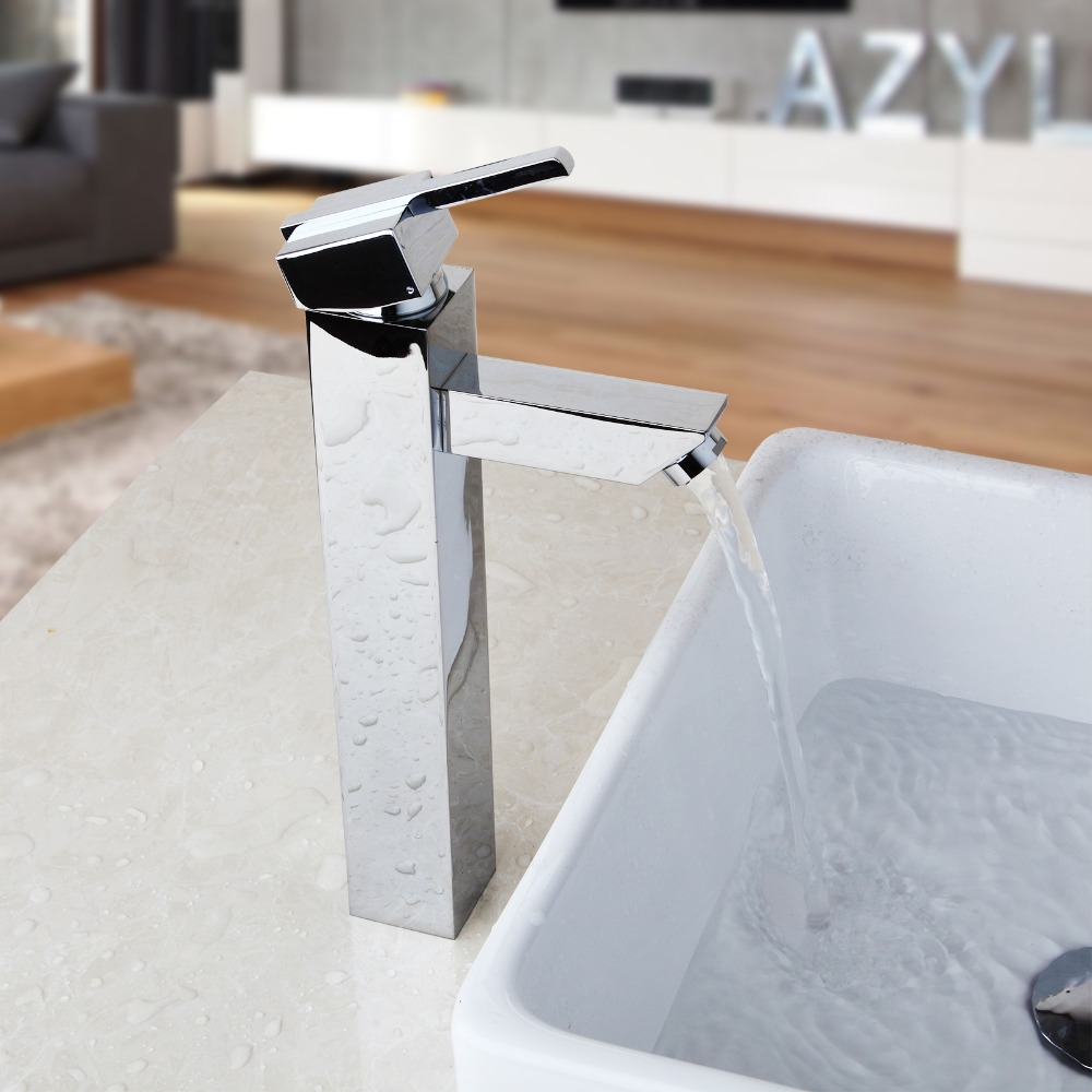 Brass sink taps bathroom - Bathroom Faucet Hot Cold Water Mixer Taps Deck Mounted Bathroom Basin Sink Taps Chrome Brass Polish Kitchen Sink Faucet In Kitchen Faucets From Home