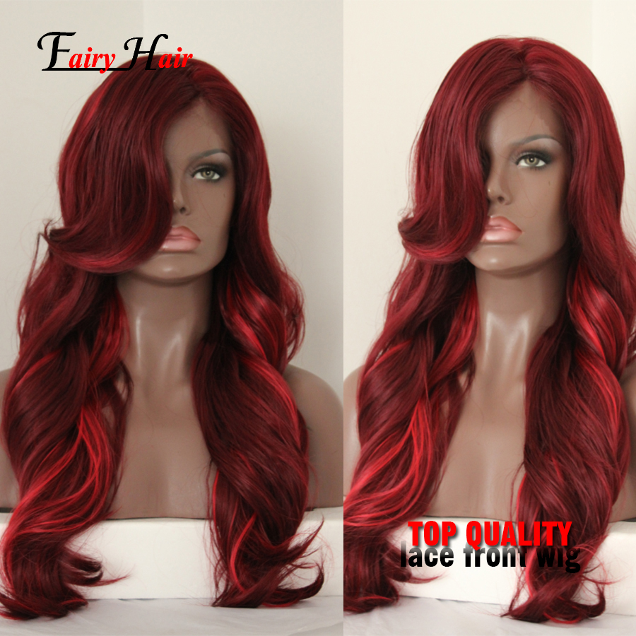 Top Sale Beazilian Synthetic Hair Red Wave Wig Mix Color Heat Resistant Synthetic Lace Front Wigs For Black Women Fast Shipping
