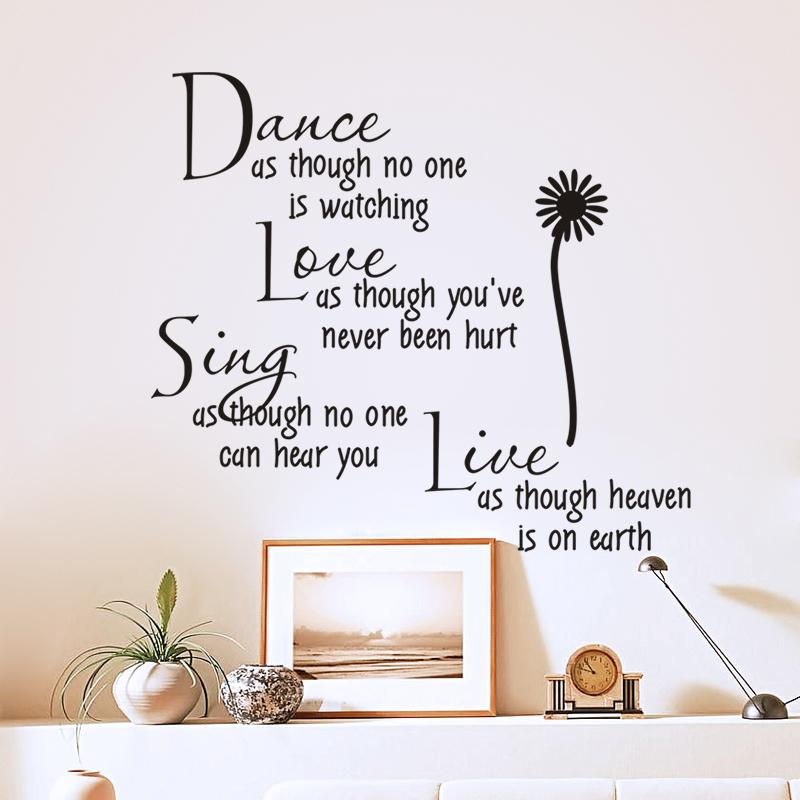 Dance As Though No One Is Watching Love Quote Wall Decals Zooyoo2008 Removable Pvc Stickers