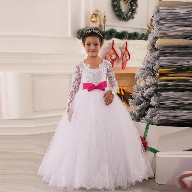 White Appliques Flower Girls Dresses With Fuchsia Bow Knot New 2016 V Neck Ball Gown Tulle Long Sleeve First Communion Dress new hot pretty ivory or white appliques tulle beads sash flower girl dresses with train white girls first communion dresses