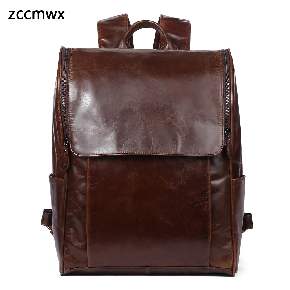 2018 nouveau sac pour hommes en cuir décontracté hommes sac à dos en cuir hommes grande capacité ordinateur sac à dos en cuir hommes sac de voyage