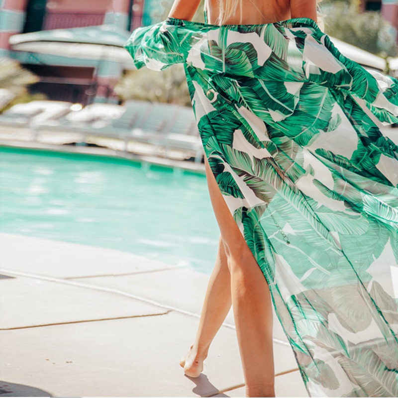 74f3f4b892 2019 Long Cardigan Beach Cover Up Bikini Chiffon Summer Beach Dress Tunic Women  Printed Kaftan Beach