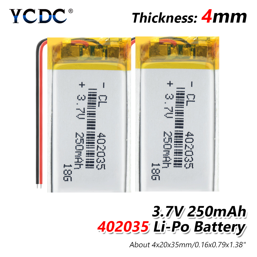 1/2/4 Pcs High Quality 3.7V <font><b>402035</b></font> Lipo Lithium Polymer <font><b>Batteries</b></font> 250mAh Li Ion <font><b>Battery</b></font> Replacement For Bt Headset Toys MP3 image