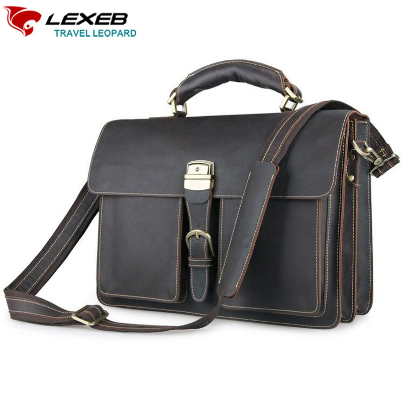 LEXEB Dark Messenger Post Men Bag Vintage Full Grain Crazy Horse Leather Briefcase For 15.6 Inch Laptop High Quality Casual Tote lexeb brand lawyer briefcase vintage crazy horse leather men laptop bag 15 inches high quality office bags 42cm length brown