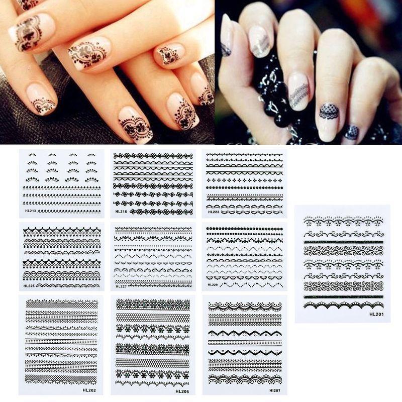 Blingbling Black Lace Nail Sticker Line ZIGZIG Design Nail