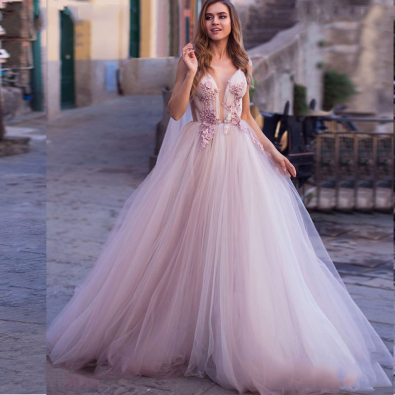 LORIE Princess Wedding Dress 2019 3D Flowers Wedding Bride Dress Sleeveless Appliques Elegant Pink Wedding Gowns Turkey Style
