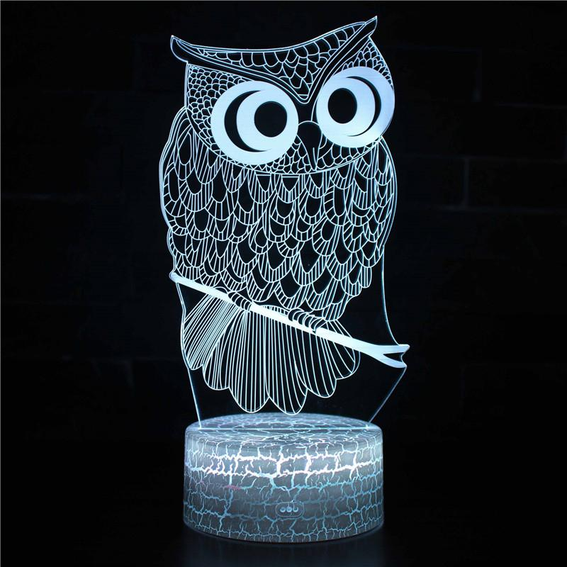 AKDSteel Cute Cartoon 3D LED Owl Night Lamp Touch Switch Remote Control Bed Light Home Office Desk Decoration Gift image
