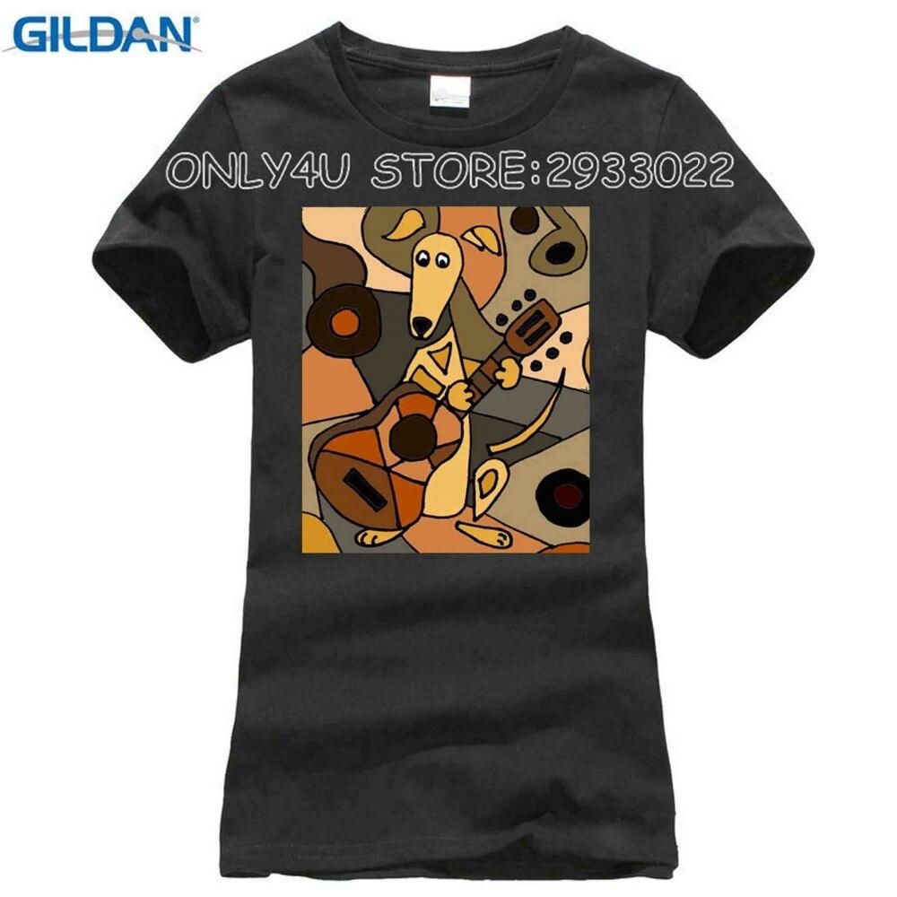 New Summer Fashion Artistic Funny Greyhound Dog Playing Guitar T-Shirts Women Soft Cotton Printed White T Shirts Tops
