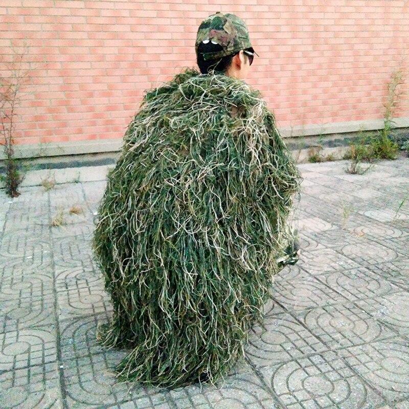 Uomini Ghillie Coperte/Copertura Camouflage Ghillie Suit Cappello Fatto A Mano di Lavoro A Maglia 80x90cm Caccia Mantello Vestiti Da Caccia Camuffamento copertura