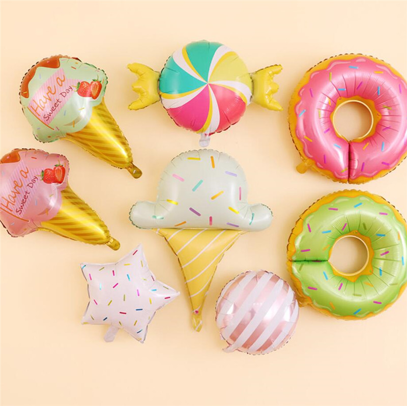 New Big Hamburg Ice Cream Popcorn Cake Donut Pizza Food Balloon Birthday Party Decoration Cartoon Hats