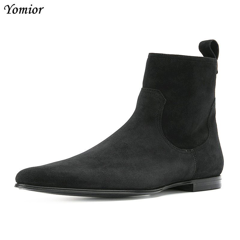 Yomior British Fashion Cow Leather Handmade Men Pointed Toe Chelsea Boots Business Gentleman Sexy Casual Wedding Boots Big Size new fashion men boots motorcycle handmade wing genuine leather business wedding boots casual british style wine red boots 8111
