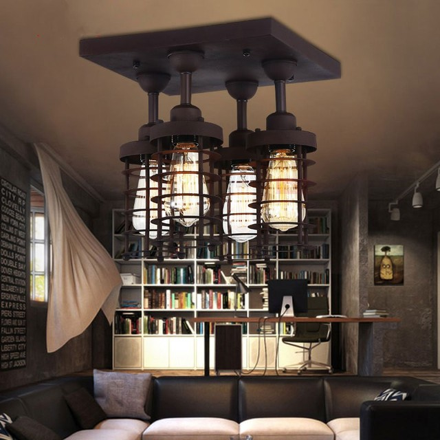 American Country Industrial Retro Style Loft Iron Ceiling Light Cafe ...