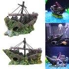 Resin Home Aquarium Ornament Wreck Sunk Ship Aquarium Ornament Sailing Boat Destroyer Fish Tank Tank Aquarium Decoration