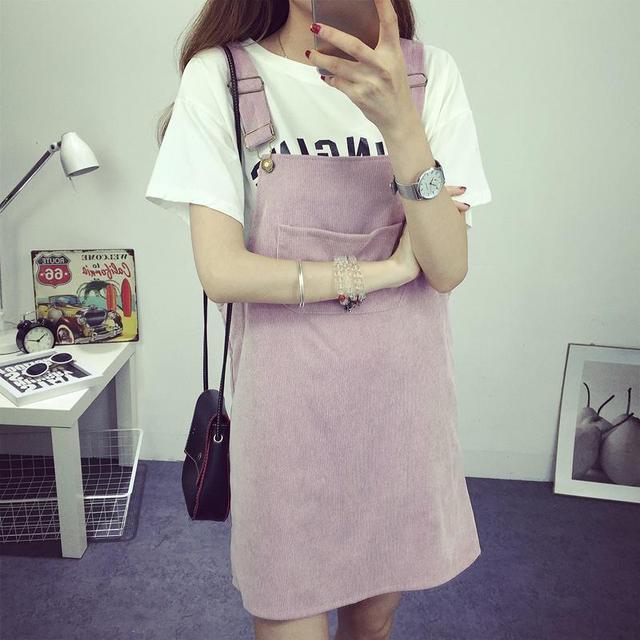 bd4480bc377 Korean Fashion Autumn 2017 Women Elegant Suspender Skirt Corduroy Candy  Color Sleeveless Overalls Skirts