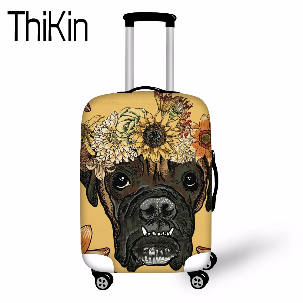 THIKIN Daisy Boxer Prints Luggage Protective Covers Anti-dust Rain Case Covers for 18-30 Suitcase Elastic Waterproof Protector