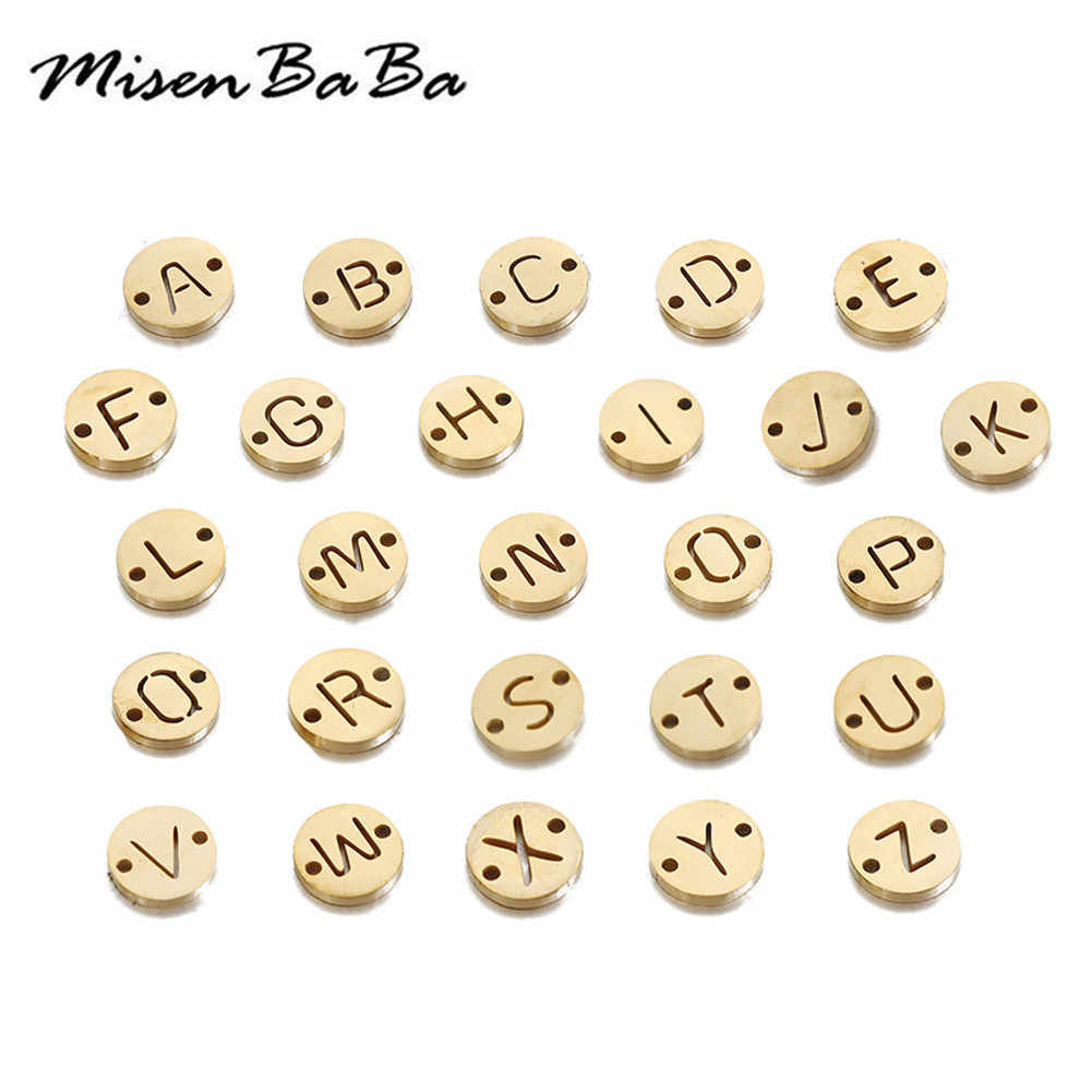 20PCS/lot Double Hole Initial Letter Charms Assorted Alphabet Disc A-Z Charms fit Diy Necklace Bracelet Pendants Jewelry Makings