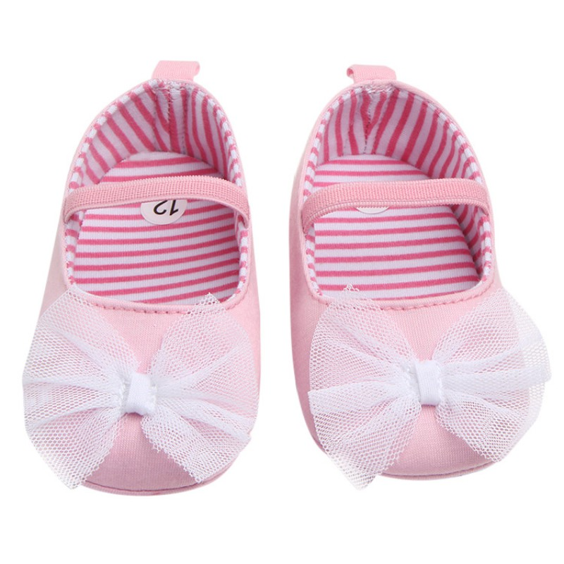 Spring Baby Girls Cute Butterfly-Knot Princess First Walkers Infant Toddler Soft Sold Anti-Slip Shoes