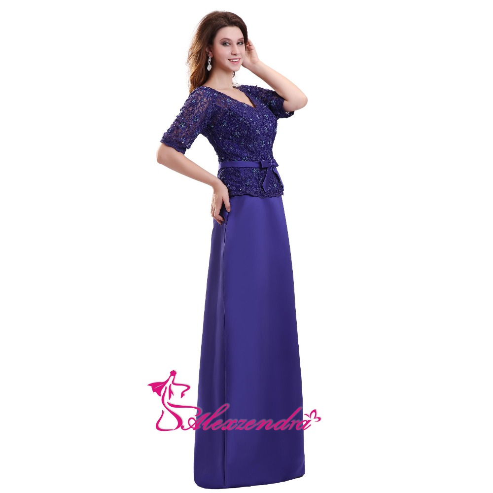 7181d5ed18 Aliexpress.com   Buy Alexzendra Blue A Line Double V Neck Long Mother of  Bride Dress with Short Sleeves Simple Long Evening Gowns from Reliable  Mother of ...