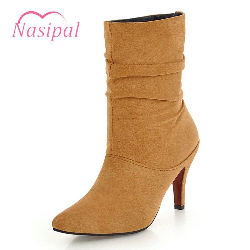 Automne jaune Femmes Hiver Chaussures Noir Bootie Talons LR54Aj