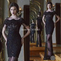 2019 Embellished robe de soiree Black Mermaid Evening Dresses Lace Formal Special Occasion Dress Short Sleeves See Through Sexy