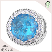 High Quality Famous Brand Same Design DIY Shining Crystal S925 Sterling Silver Charm