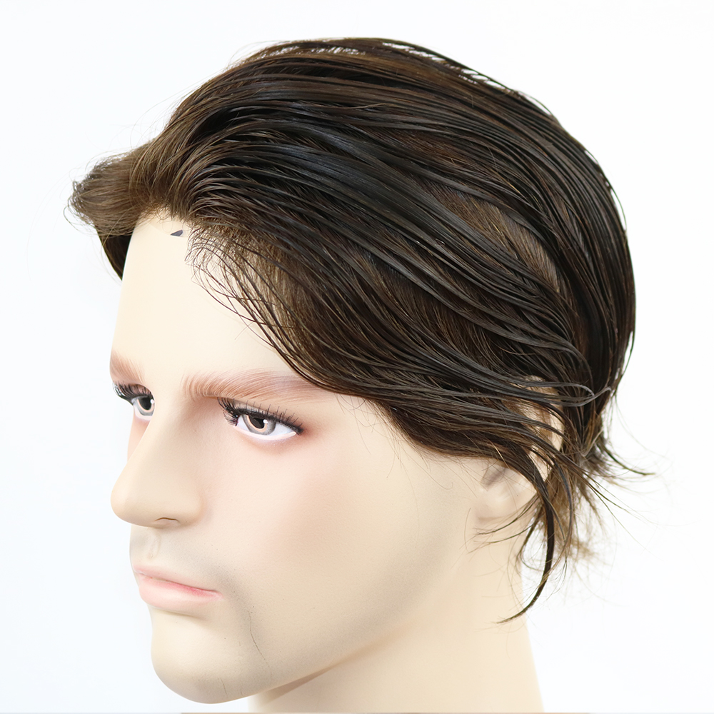 6X8inch 7X9 Inch Super Thin Skin Mens Toupee Mono Base Men Hair Wig Hair Prosthesis With Indian Remy Hair Wigs