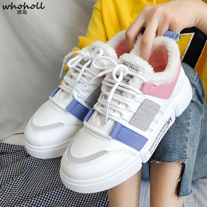 97529393c6e WHOHOLL 2018 Autumn Winter Women Casual Shoes Comfortable lace-up Platform  Shoes Woman Sneakers Ladies Trainers chaussure femme
