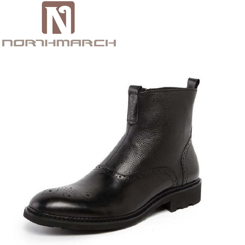 NORTHMARCH Autumn Winter Chelsea Boots Men Shoes Male Business Genuine Leather Quality Slip On Ankle Boot Man Casual Brown Boots branded men s penny loafes casual men s full grain leather emboss crocodile boat shoes slip on breathable moccasin driving shoes