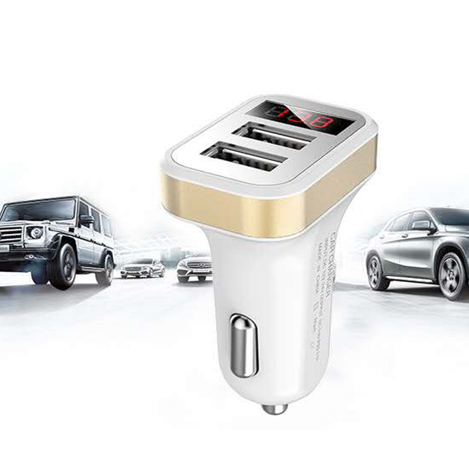 Car Charger Digital Display 2.1A Dual Port USB Charger Adapter for iPhone Samsung Xiaomi Huawei P20 lite USB Phone Charging8