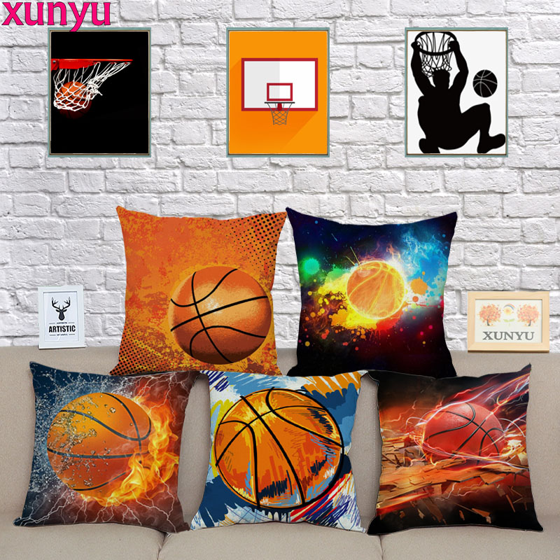 XUNYU Basketball Cushion Cover Fun Pillow Case Home Decorative Throw Pillow Covers For Sofa Car KQ27 45x45cm