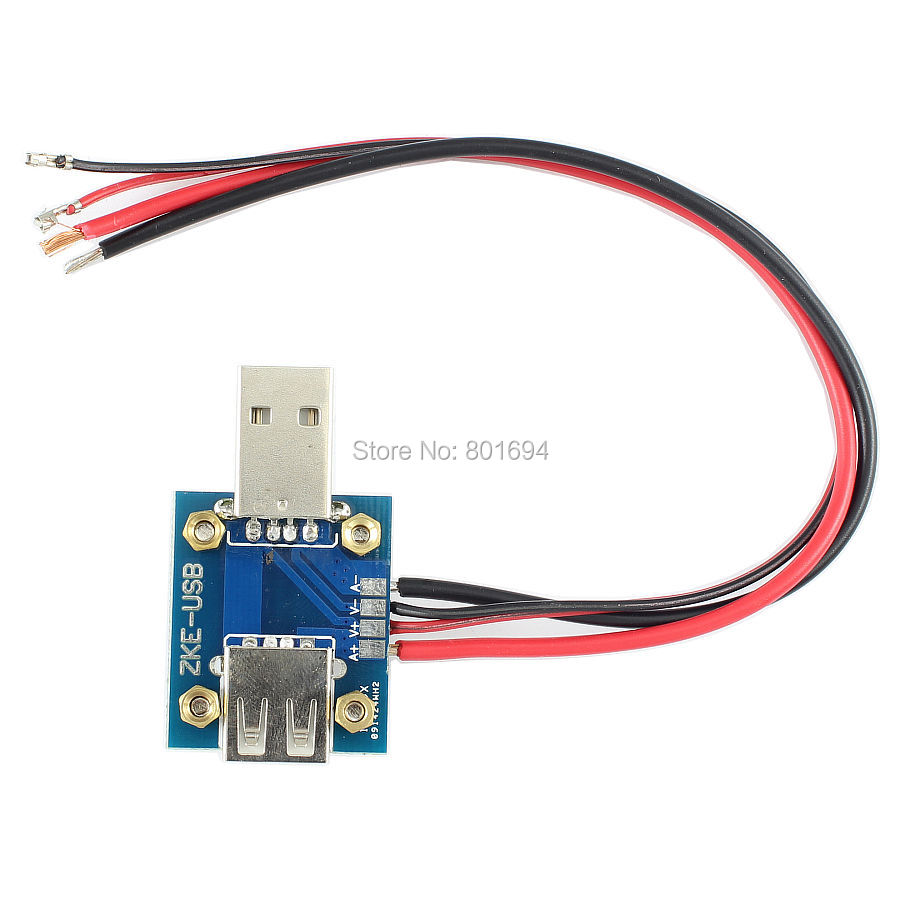USB Male and Female Plug Converter Board Voltage and Current Monitoring with Welding Point