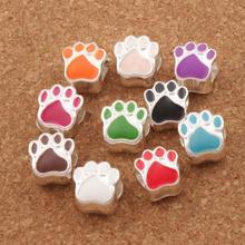 Enamel Bear Dog Cat Paw Print Big Hole Beads 10Colors L1770 10PCS Silver Plated Bead Fit European Bracelets