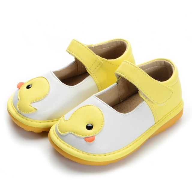54c6af057dc7d Yellow Duck Toddler Girl Squeaky Shoes First Walker Soft Sole Baby Leather  Casual Shoes