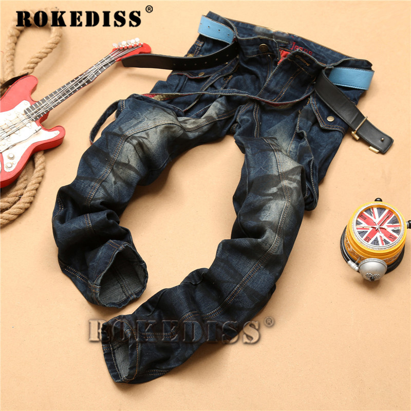 Celebrity Biker Pencil Jeans for Men Slimming Brand Fashion Designer Retro Distressed Vintage Denim Pant Full Length C138
